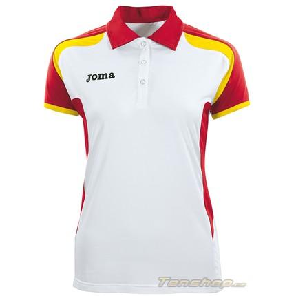 Dámské tenisové tričko Joma Open Woman Polo wh-red-yellow