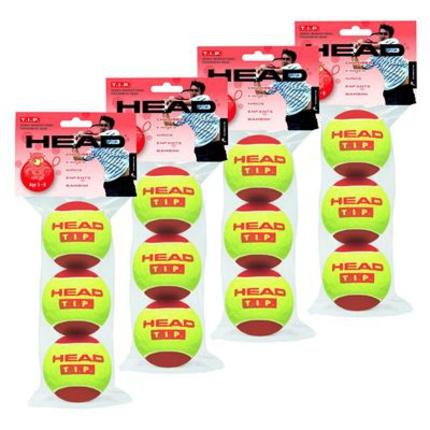 Dětské tréninkové míče Head T.I.P. red, 12 ks