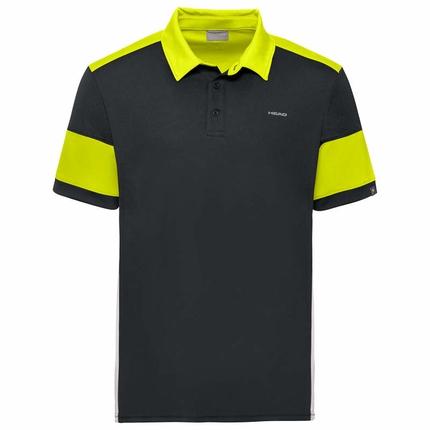 Pánské tenisové tričko Head Ace Polo, black/yellow
