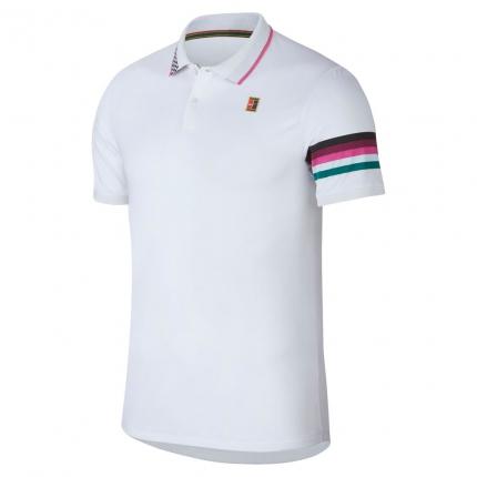 Pánské tenisové tričko Nike Court Advantage Polo, white/pink