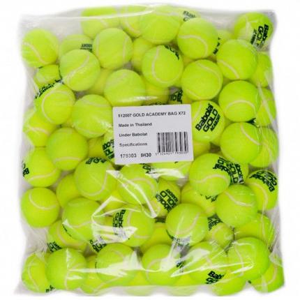 Tréninkové míče Babolat Gold Academy, 72 ks v plast. pytli