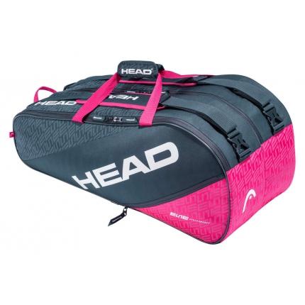 Tenisová taška Head Elite 9R Supercombi, anthracite/pink