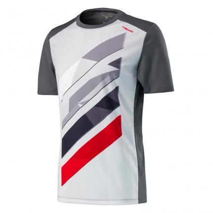 Pánské tenisové tričko Head Vision Striped Shirt, anthracit