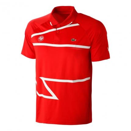 Pánské tenisové tričko Lacoste Roland Garros Novak Djokovic Polo, red/white