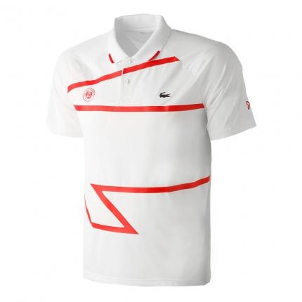 Pánské tenisové tričko Lacoste Roland Garros Novak Djokovic Polo, white/red