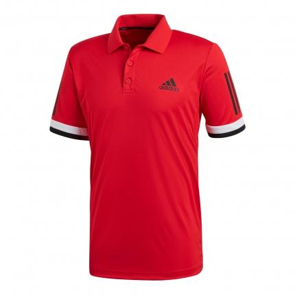 Pánské tenisové tričko Adidas Club 3 Stripes Polo, scarlet