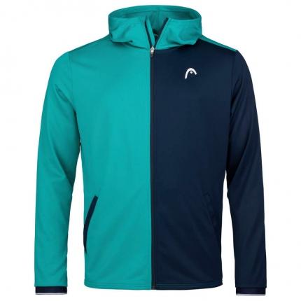 Pánská tenisová mikina Head Breaker Hoodie FZ, turquoise/dark blue