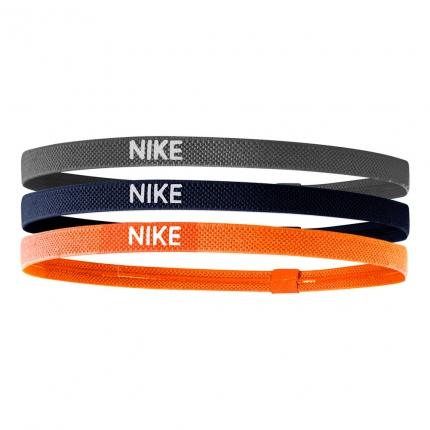 Tenisové čelenky Nike Elastic Hairbands 3er, smoke grey/midnight navy/bright mango