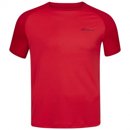 Dětské tenisové tričko Babolat Play Crew Neck Tee, tomato red