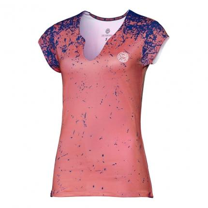 Dámské tenisové tričko Bidi Badu Bella Tech V-Neck Tee, coral/dark blue