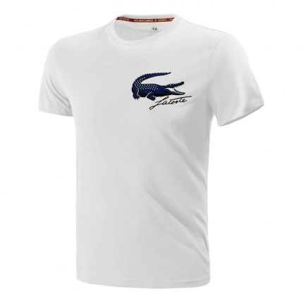 Pánské tenisové tričko Lacoste Logo T-Shirt, white/navy blue
